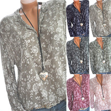 Large size Womens Blouse 2019 new fashion long-sleeved shirt printing V-neck casual large womens