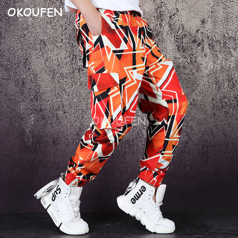 New Gorgeous pattern printing casual pants loose overalls multi-pocket feet pants tide men's pants