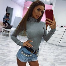 2018 Autumn Winter Women Cotton Long Sleeve Skinny Bodysuit Solid High Neck Sexy Body Suit
