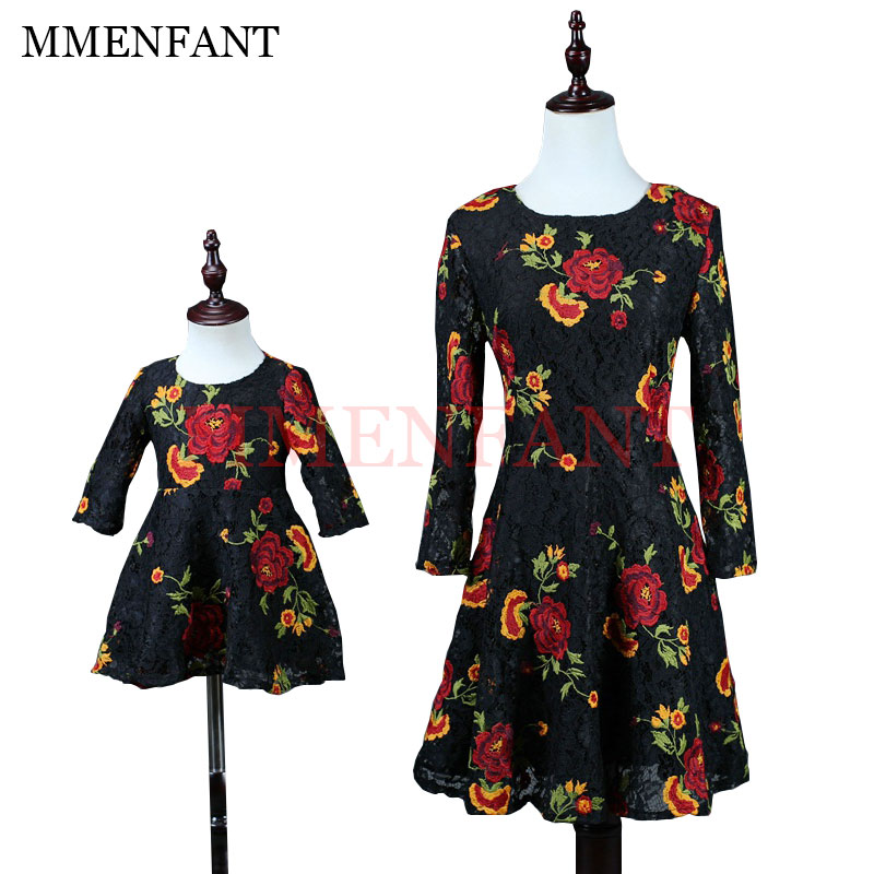 Fashion Black lace embroidered roses dresses children's clothing mother daughter dresses Three Quarter sleeve princess dress цена