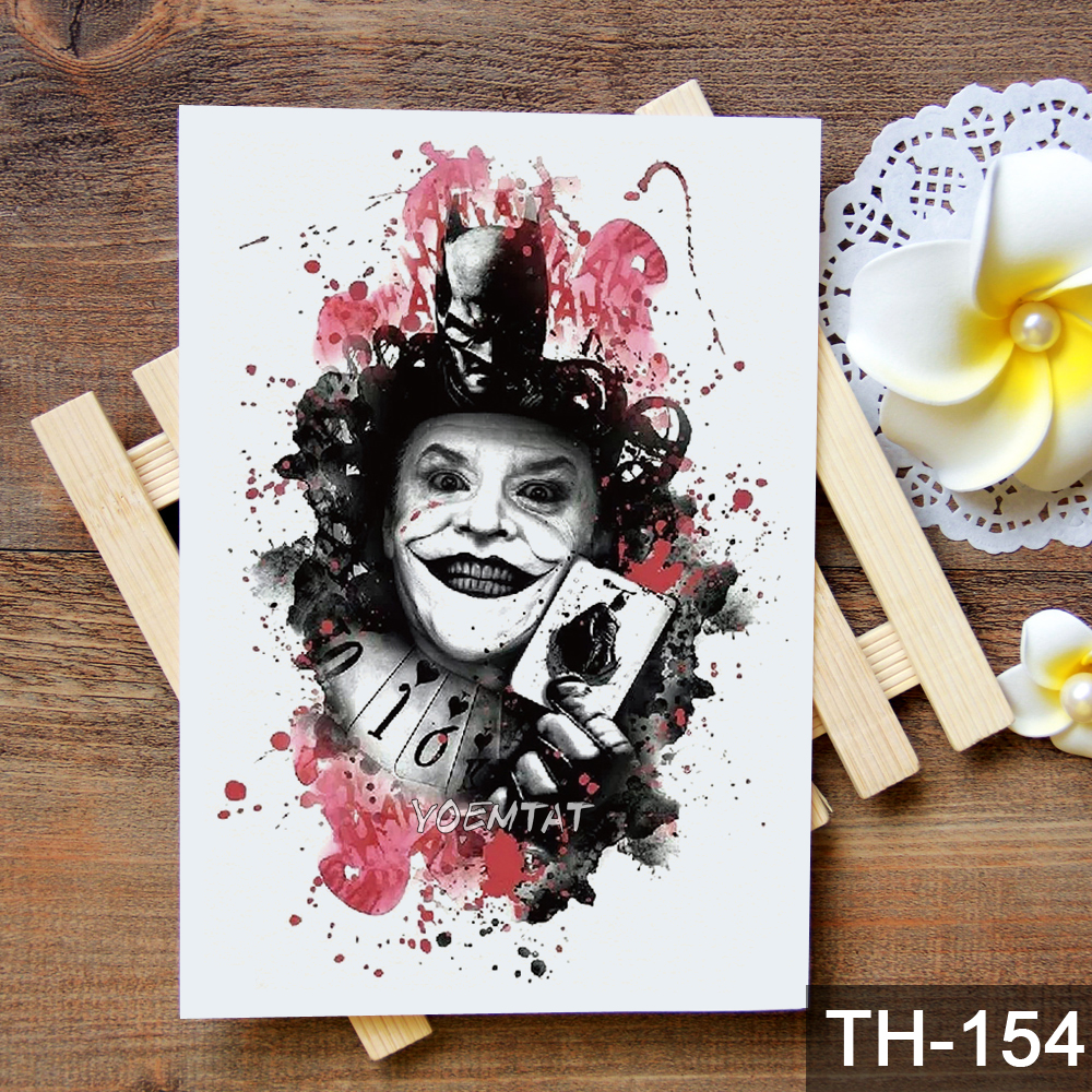 Waterproof Temporary Tattoo Sticker Flower skull joker clown pattern 1