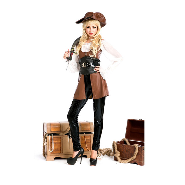 1e089c4b8f40f6 US $49.64 8% OFF|Plus Size Sexy Women Cosplay Party Costumes Deluxe Pirate  Costume Adult Cosplay Halloween Fantasias Costumes For Women M4633 on ...