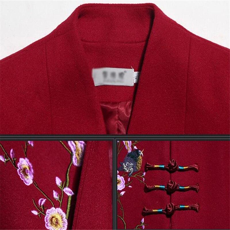 Surdimensionné Automne Broderie Purple Élégant Veste Dames La navy Vintage Manteau Long De Hiver Plus Laine Taille red Femmes 7HqH8d