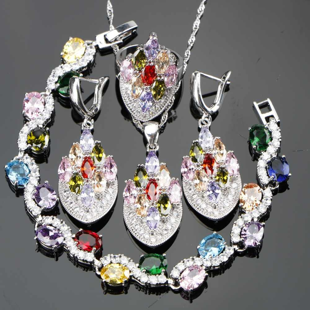 Fashion Jewelry 925 Silver Heart Necklace Bracelet Ring Stud Earrings Gift
