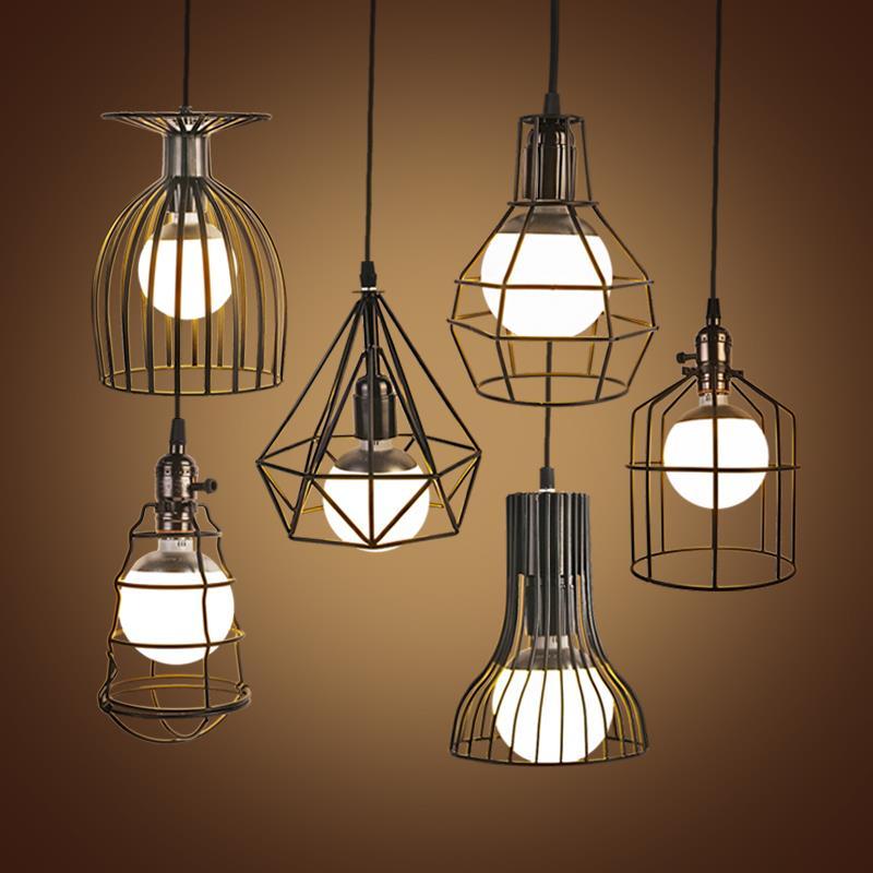 Vintage Iron Lustre Pendant Light Lampshade Chandelier Ceiling Loft Suspension Luminaire Lamp Modern Hanging For Dining Room