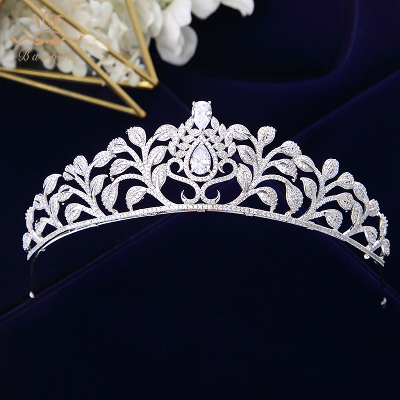 Bavoen High-end Clear Zircon Brides Crowns Tiaras European Silver Plated Crystal Bridal Hairbands Wedding Hair Accessories Gifts