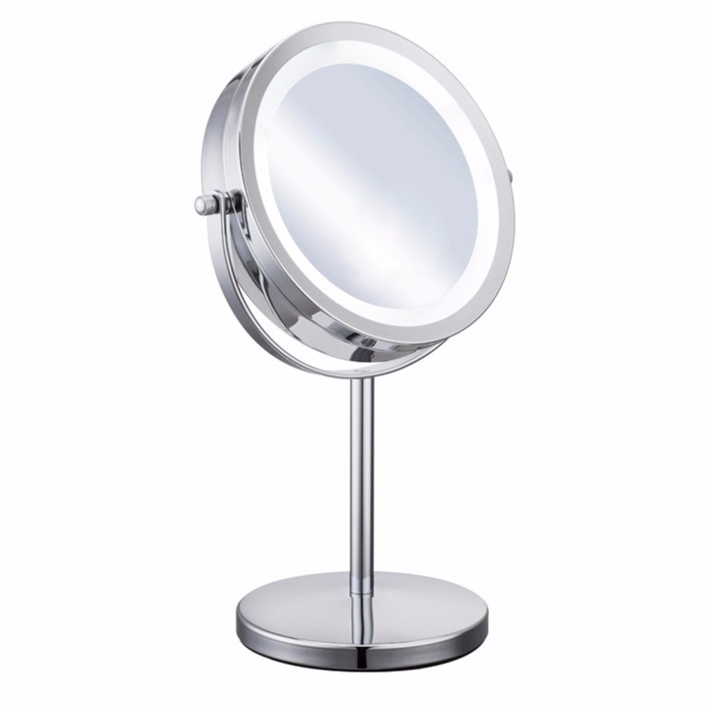Portable Size 5X Magnification Facial Makeup Cosmetic Mirror Round Shape LED Light Women Desktop Makeup Mirror 2018 Hot New 6 inch 5x magnification cosmetic makeup mirror round shape 2sided rotating magnifier mirror led light makeup mirror for gift