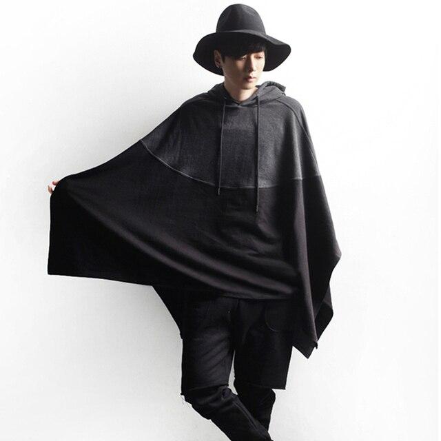 2017 Plus Size 5XL Mens Batwings Patchwork Hooded Hoodies Streetwear Casual Patchwork Cloak Dolman Sweatshirt Black Gray Y2097