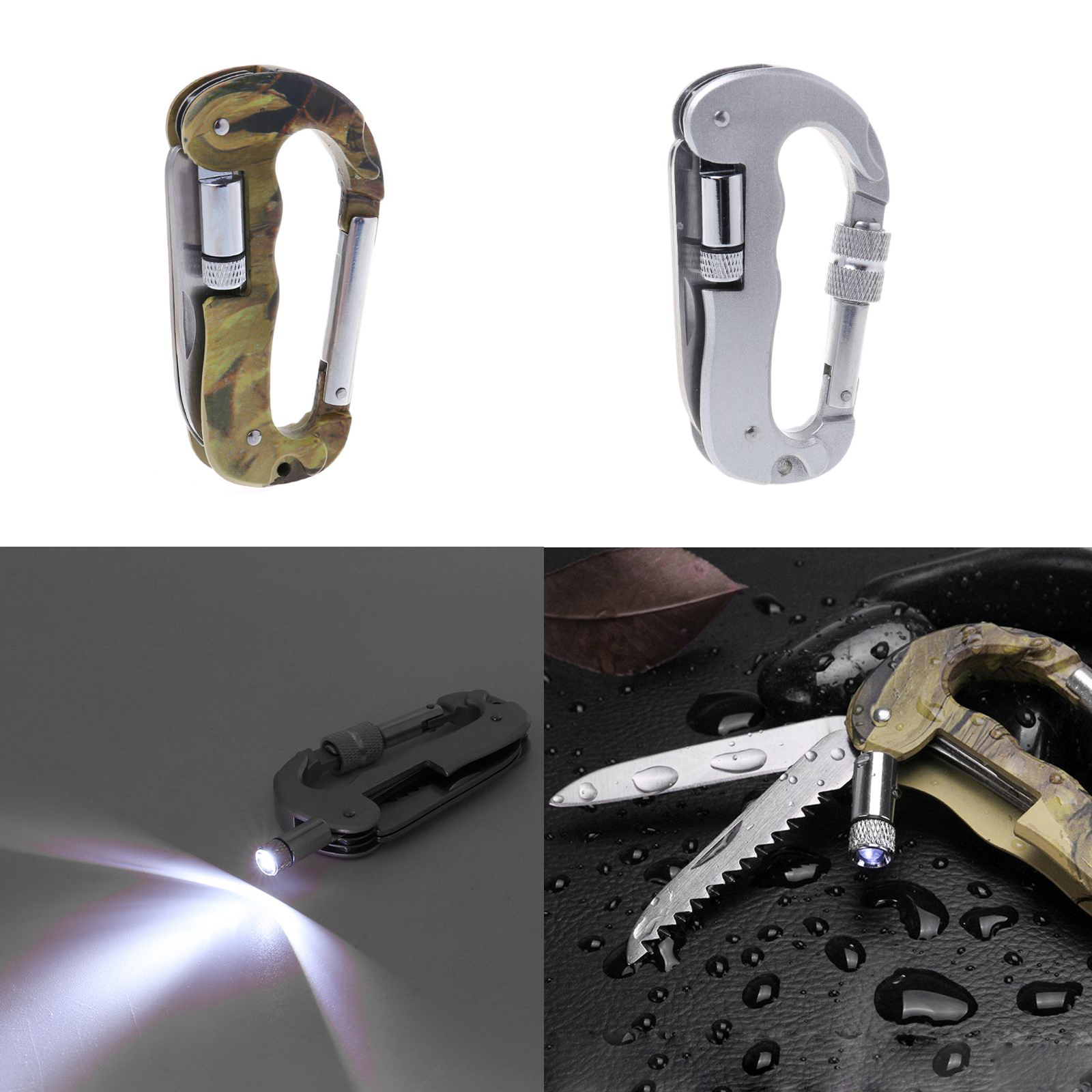Outdoor EDC Multi Tool Tactical Camo Camping Climbing Carabiner Hook Knife LED