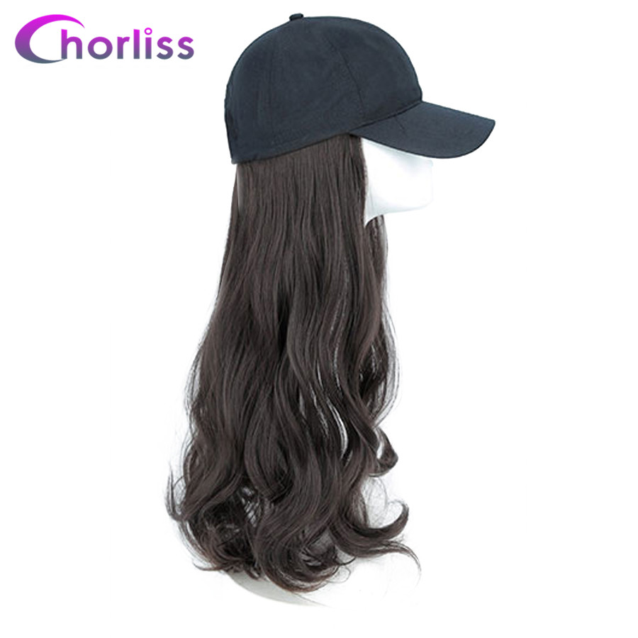 Synthetic Long Wavy Natural Full Head Wigs For Women Chorliss Wig With Hat Duck Tongue Wig With straps Adjustable Black Hair(China)