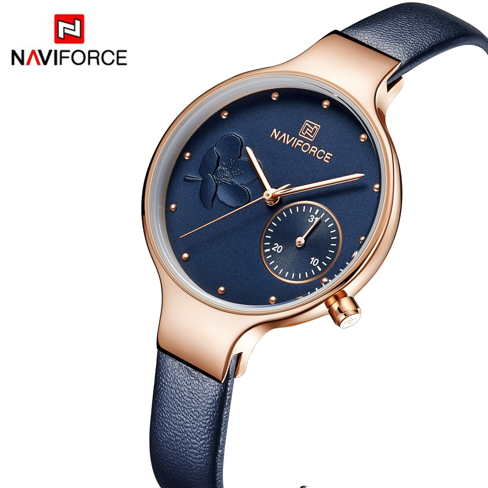 NAVIFORCE Women Fashion Blue Quartz Watch Lady Leather Watchband High Quality Ca