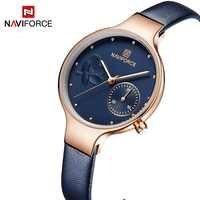 NAVIFORCE mujer moda reloj de cuarzo azul señora correa de cuero alta calidad Casual impermeable reloj de pulsera regalo para esposa 2019