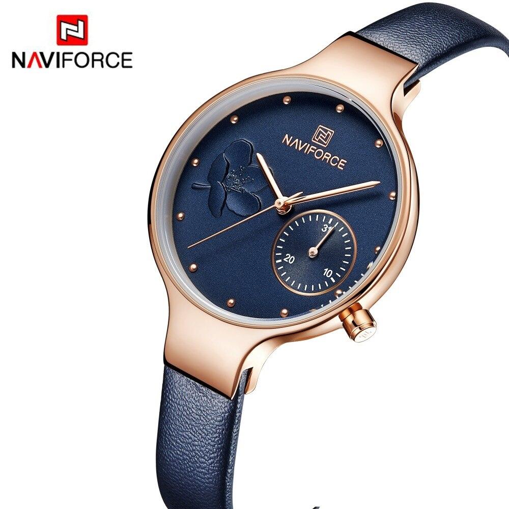 Naviforce moda feminina azul relógio de quartzo senhora pulseira de couro alta qualidade casual relógio de pulso à prova dwristwatch água presente para a esposa 2019