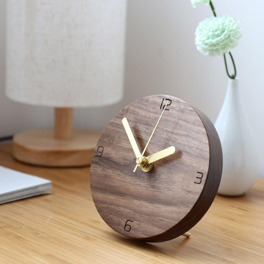 Horloge de bureau électronique Style japonais horloge Simple Design créatif muet décoratif bureau pendule horloge en bois massif horloge WZH030