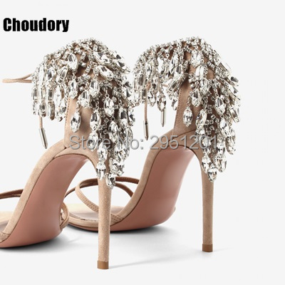 Summer Bling Bling Women Gladiator Sandals Brand Suede Strappy High Heels Shoes Woman Lace Up Pumps Rhinestone Cover Heel Sandal silver wings silver wings 31mc0198 38 44