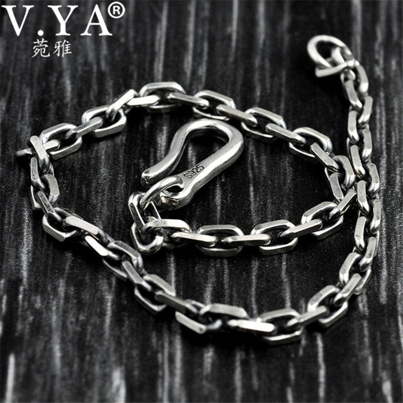 V.YA 3.8mm/5mm 925 Sterling Silver Bracelet Vintage Link Chain Bracelets Bangles for Men Women Couple Thai Silver Jewelry 2018 mens jewelry double layer link chain men bracelets 925 sterling silver bracelets