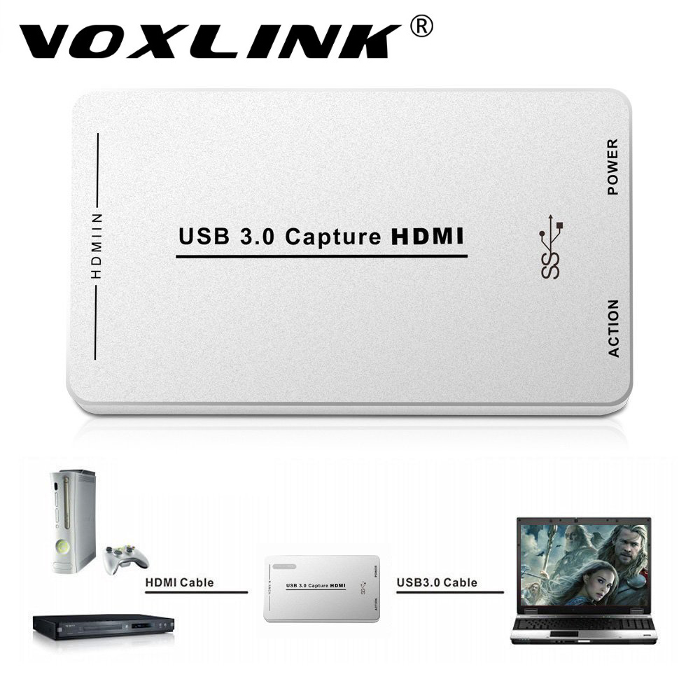 VOXLINK HDMI Video Capture with USB3.0/2.0 Dongle 1080P 60FPS Drive-Free Capture Card Box for Windows Linux Os X System obs live streaming usb3 0 video capture card 1080p 60fps convert hdmi video to usb3 0 for windows mac linux free shipping