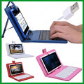 7 inch Tablet PC General USB PU Leather Keyboard Case English Letters Free Stylus Pen