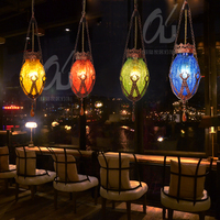 Bohemia Mediterranean restaurant bedroom lamp retro multicolor pendant lamp