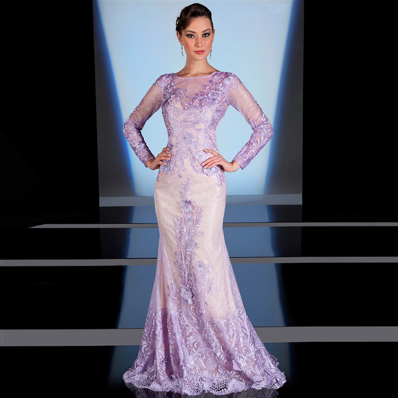Customized Lavender Long Sleeve Appliques Evening Dresses For Plus
