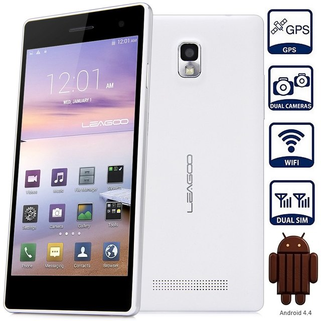 LEAGOO LEAD 2 Android 4.4 Smartphone 5.0 Inch 3G MTK6582 1.3GHz Quad Core Mobilephone 1GB+8GB WiFi GPS QHD IPS Screen Cellphone