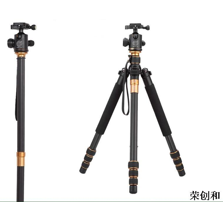 New Arrival QZSD-999C Carbon Fiber Camera Tripod SLR And Digital Camera Tripods With 360 Degree Ball Head Load To 15KG&Q666 best qzsd q999 portable tripod to monopod 360 degree panoramic ptz for digital slr camera ball head changeable load bearing 10kg