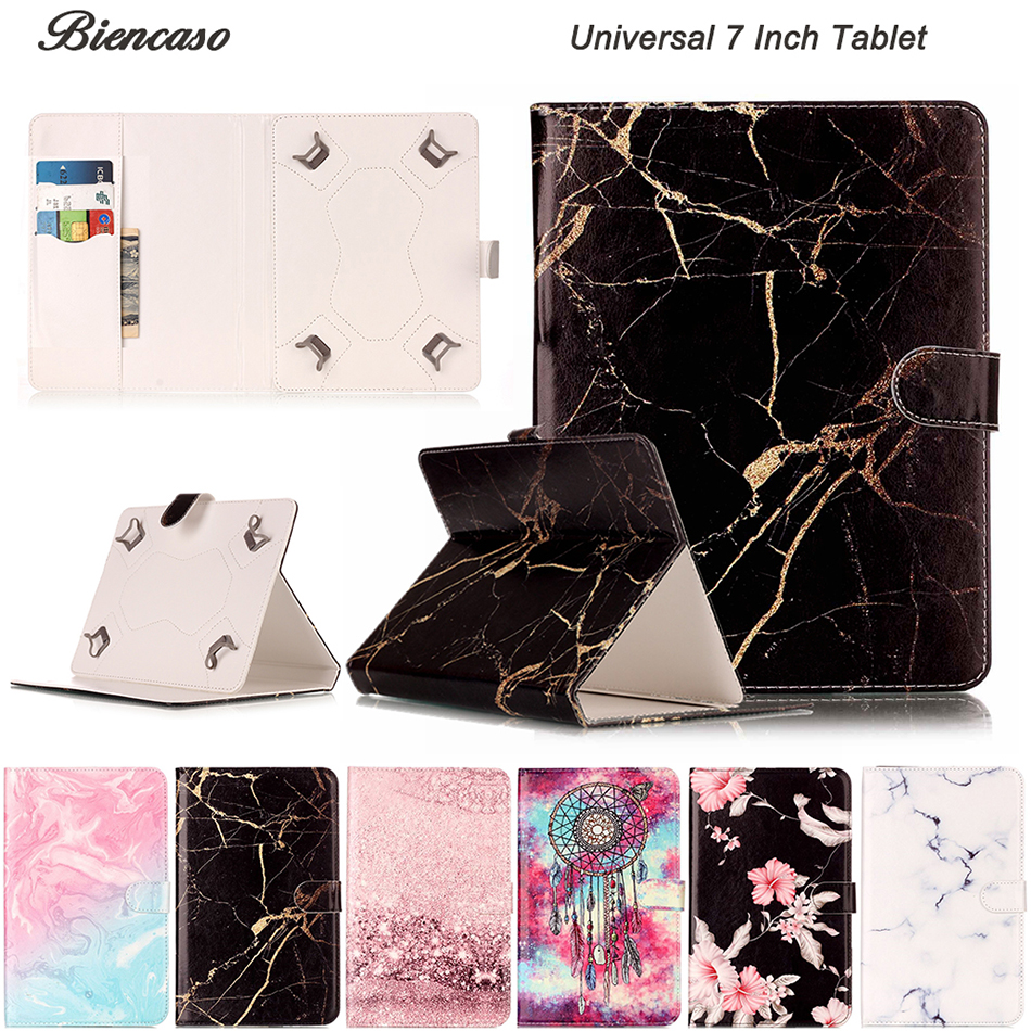 Universal 7 Inch Tablet Cover Marble PU Leather Magnetic Buckle Flip Case For Huawei Lenovo Samsung Asus Kindle Tablet Funda B08 universal 8 inch tablet case for huawei lenovo samsung asus acer ipad mini marble pu leather flip tablet protective shell cover