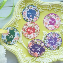 multi-use 50pcs flower Garland design thank you Scrapbooking decoration tags as wedding gift label DIY use