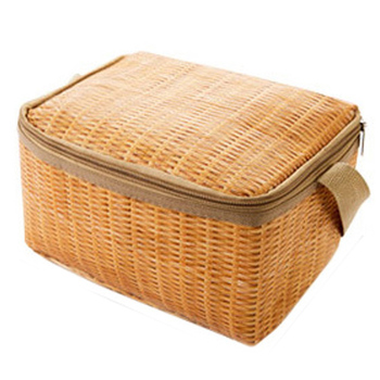 JHD Portable Imitation Rattan Lunch Bags Insulated Thermal Cooler Lunch Box Tote Storage Bag Container Food Picnic Bag