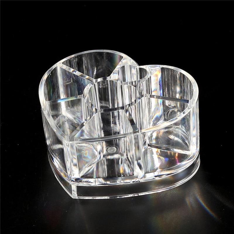 Desktop Storage Box Acrylic Heart-shaped Makeup Organizer Rack Holder WH998
