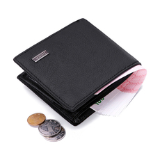Brand New Men short wallets Solid Color Cow Leather business money purses credit card photo holder wallet portefeuille homme comics halo for man wallets games purses leather money and photo slot credit card holder 3d wallets bifold short boys wallets
