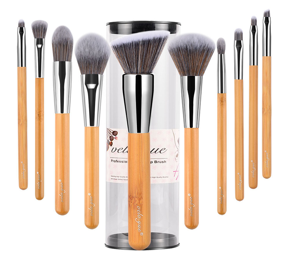 Velayue 5 to 18 Pcs Makeup Brush Set including Flat Top Brush and Fluffy Brush for Full Face and Eye Makeup 11