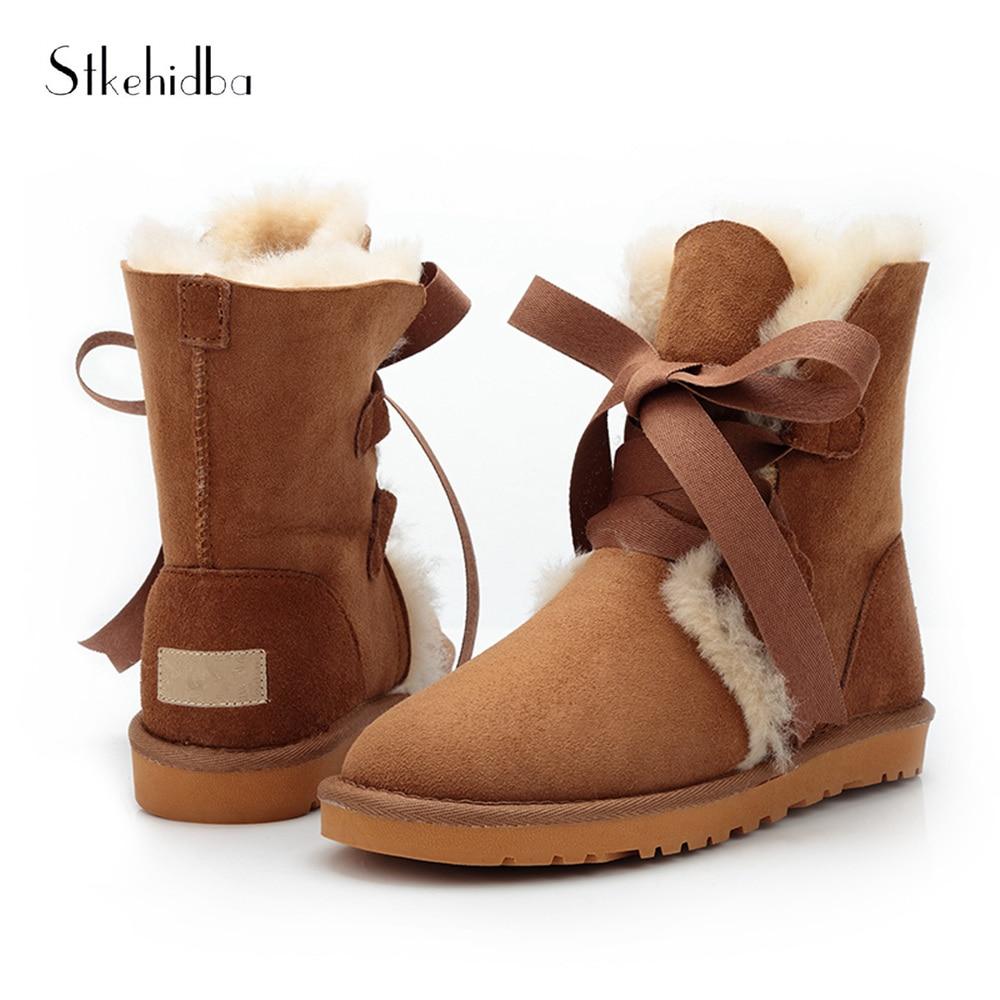 new styles f9763 f2161 Stkehidba-2018-Nuovo-Lace-Up-delle-Donne -Stivali-Da-Neve-100-Genuino-Della-Pelle-Bovina-In.jpg