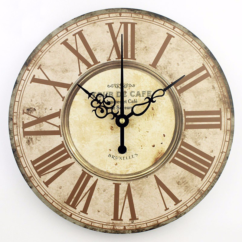Home decor absolutely mute quartz wall clock retro roman for Design wall clocks for living room