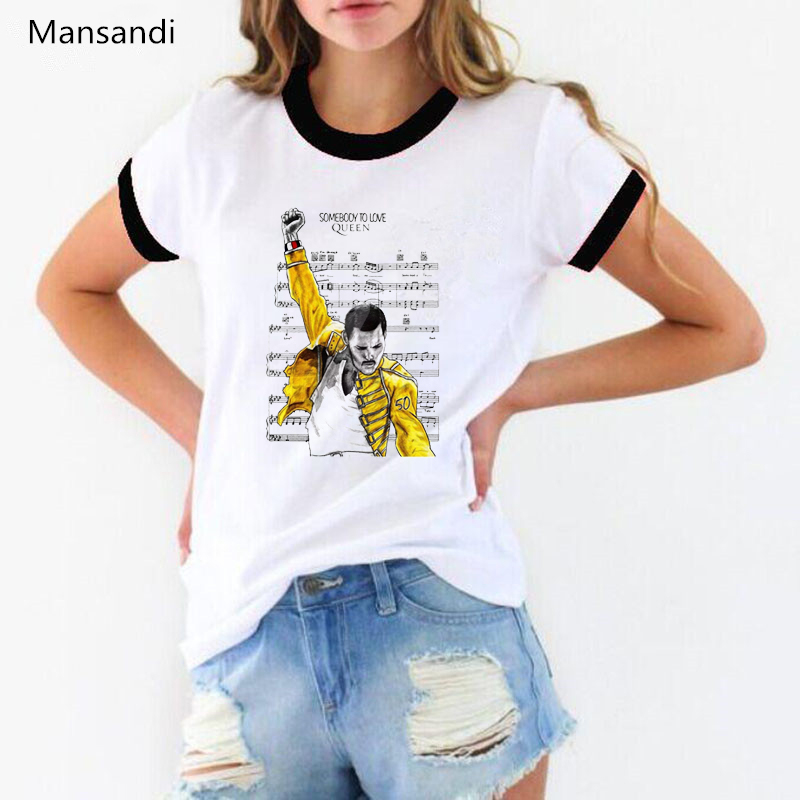 Freddie Mercury T Shirt Graphic Tees Women Clothes 2019 The Queen Band Tee Shirts Femme Summer Tops Female T-shirt Streetwear