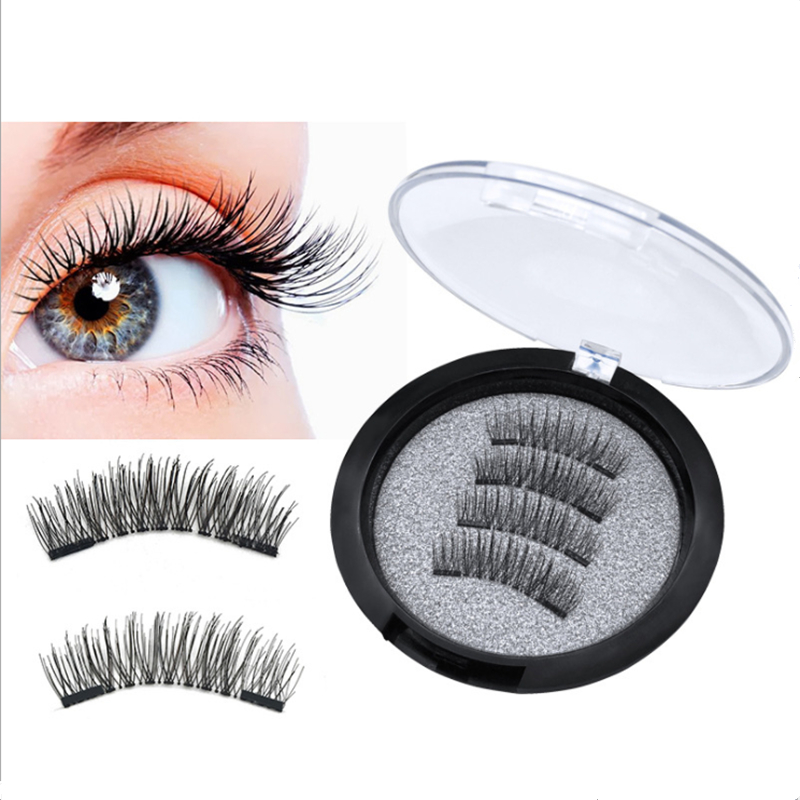 3D False Eyelashes With 2 Magnets Handmade Thick Natural Full Strip Magnetic False Eyelashes Reusable False Eyelashes Small Gift