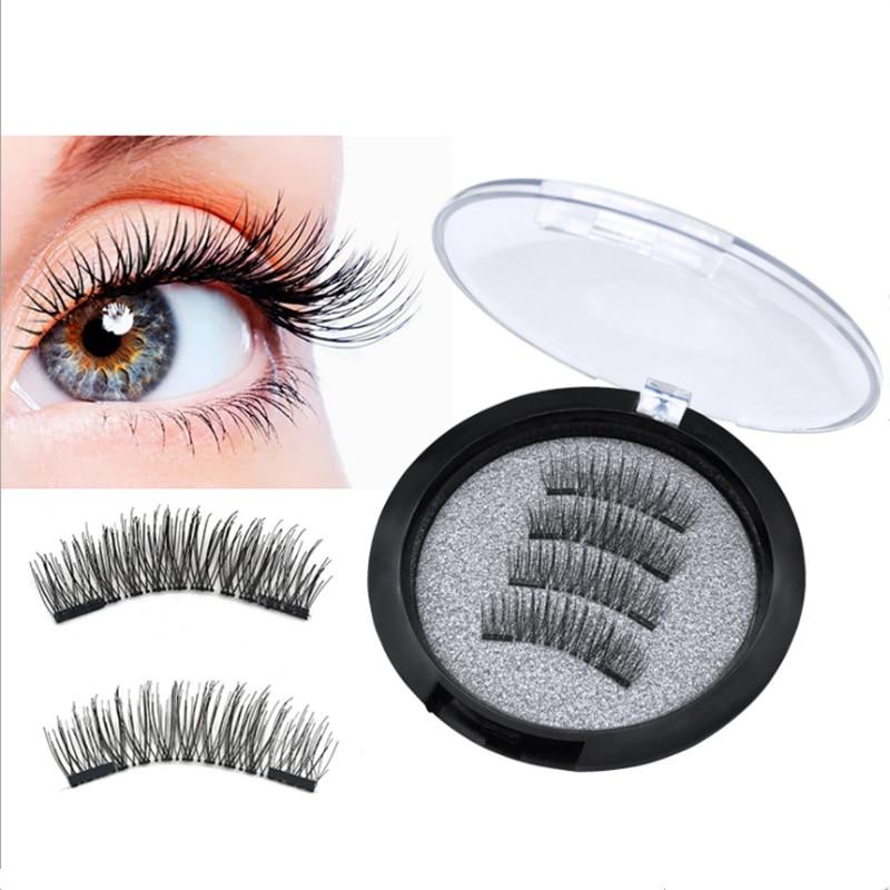 3D False Eyelashes With 2 Magnets Handmade Thick Natural Full Strip Magnetic False Eyelashes Reusable False Eyelashes Small Gift