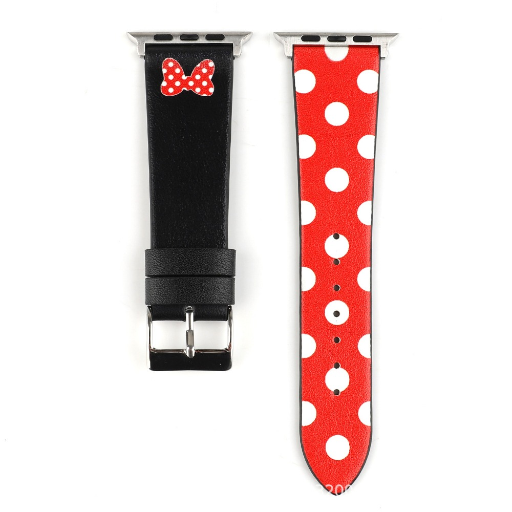 Genuine Leather Strap For Apple Watch 4 5 Band 44mm 40mm Iwatch 3 Band 42mm 38 Mickey Mouse Minnie Cartoon Correa Bracelet Belt