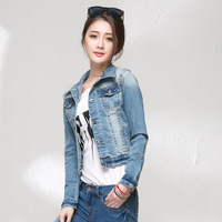 new arrival autumn and winter turn down collar cotton denim jacket women single breasted slim short jeans jackets free shipping