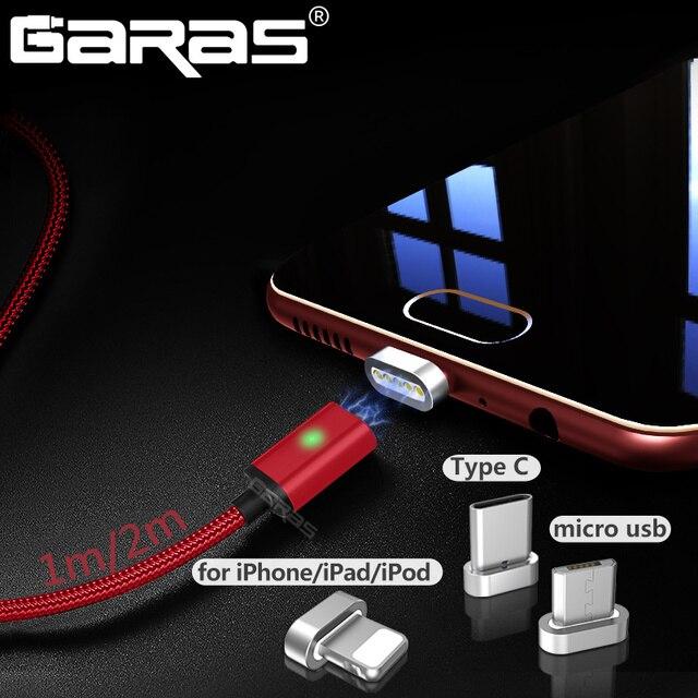 GARAS Тип usb C/Micro USB/Lightning 3IN1 Магнитный кабель USB-C/Тип-с быстро Зарядное устройство магнитный кабель для iPhone мобильного телефона кабель 2 м