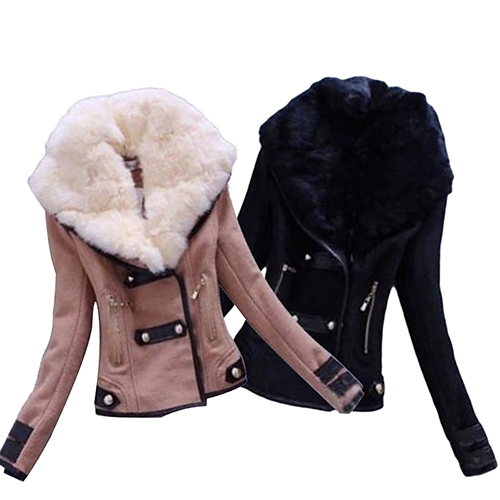 Fashion Women Slim Warm Artificial Fur Collar Short Winter Coat Jacket Outwear