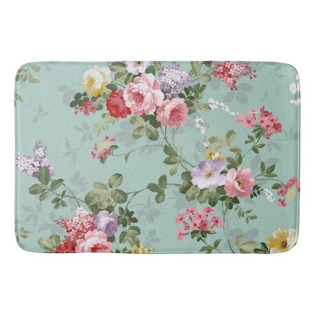 vintage rose rose fleur porte dentre tapis lgant floral salle de bains tapis - Tapis Fleur