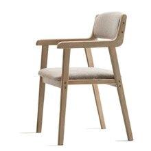 Современный минималистичный Ретро обеденный стул из цельного дерева стул для ресторана подлокотник стул для отдыха для взрослых компьютерный стол стул