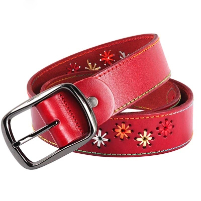 Cuero genuino cinturón rojo para mujer cuero genuino primera capa de cinturón vaca bordada tendencia nacional hebilla