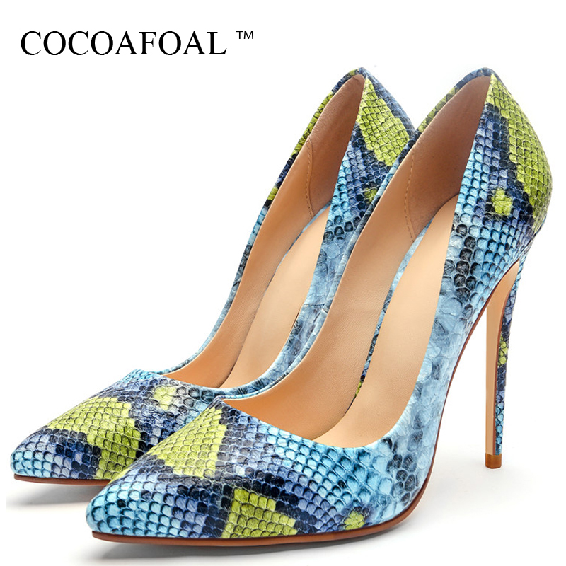 COCOAFOAL Women's Snakeskin High Heels Shoes Wedding Party Woman Shoes Plus Size 33 43 Blue Pointed Toe Sexy Pumps Stiletto 2018 cocoafoal woman green high heels shoes plus size 33 43 sexy stiletto red wedding shoes genuine leather pointed toe pumps 2018