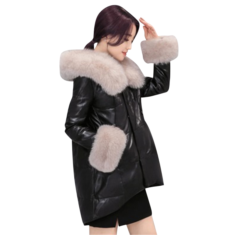 2017 Winter Jacket Women's Fashionable New Imitation Fox Fur Fur Coat High-end Cotton Clothes  Long Style Thick Loose Large Coat 2017 winter new clothes to overcome the coat of women in the long reed rabbit hair fur fur coat fox raccoon fur collar
