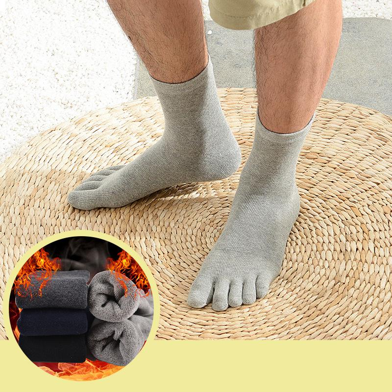 4 Pair/lot Warm Thick Five Finger Toe Socks Men Fashion Crew Long Cotton Toe Socks Male Winter Soft Casual Sokken BOC011
