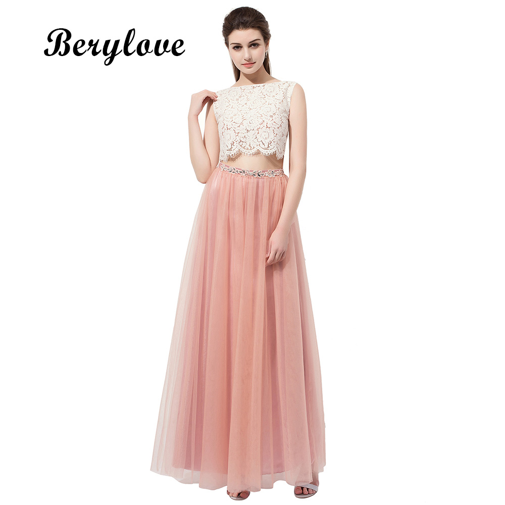BeryLove 2 Two Pieces Blush Pink Prom Dresses 2018 Long Lace Evening ...