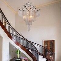 Aluminum Chain Luxury Staircase Chandelier Hotel Villa Postmodern Creative Designer Personality Tassel Villa Hanging Lights Led