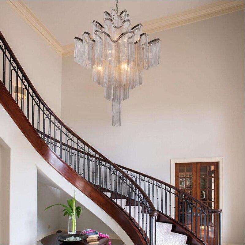 Aluminum chain luxury staircase chandelier hotel villa postmodern creative designer personality tassel villa hanging lights led luxury aluminum watch